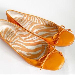 Stuart Weitzman shoestring ballet flats orange 6.5